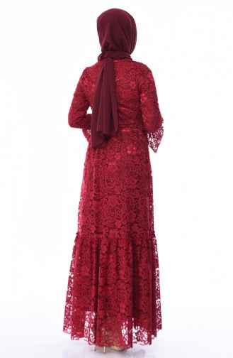 Claret Red Hijab Evening Dress 8177-03
