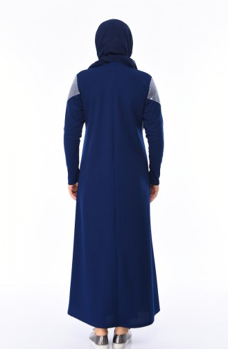 Robe Perlées Grande Taille 4565-04 Bleu Marine Clair 4565-04