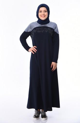 Dunkelblau Hijap Kleider 4565-06