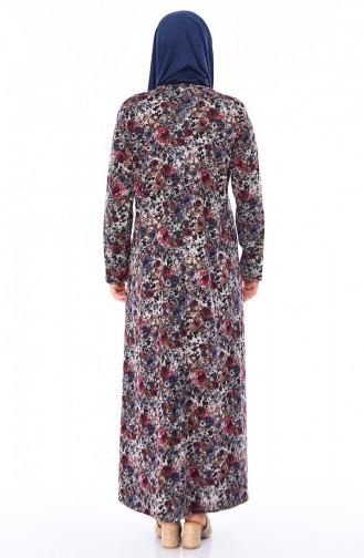 Robe a Motifs Grande Taille 4847-07 İndigo 4847-07