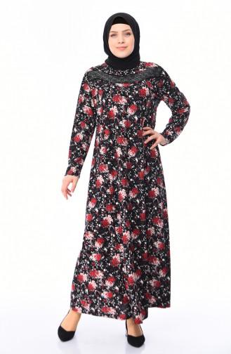 Büyük Beden Taş Baskılı Elbise 4859B-01 Siyah Kırmızı