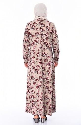 Büyük Beden Taş Baskılı Elbise 4859C-03 Vizon Bordo
