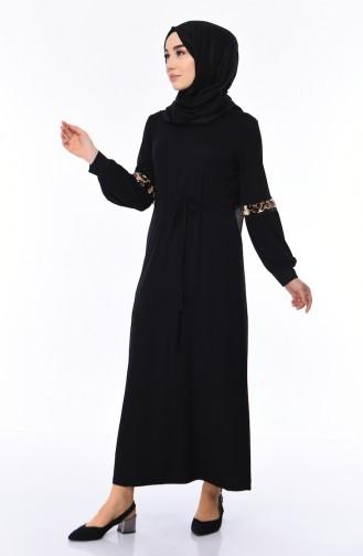 Viskose-Kleid mit Paillettendetail 6011-02 Schwarz 6011-02