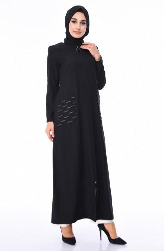 Abaya Impirmée de Pierre 4443-02 Noir 4443-02