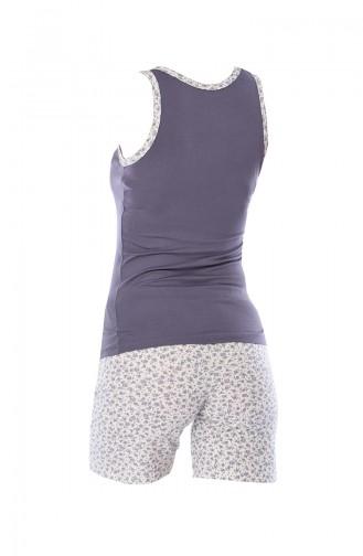 Bayan Cepli Şortlu Pijama Takımı 795 Gri