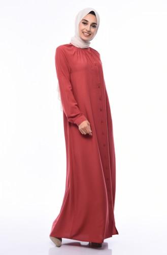 أويا فستان فيسكوز بتصميم ازرار8119-04 لون قرميدي 8119-04