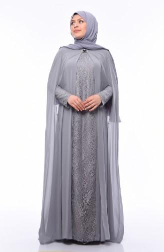 Grau Hijab-Abendkleider 1307-04