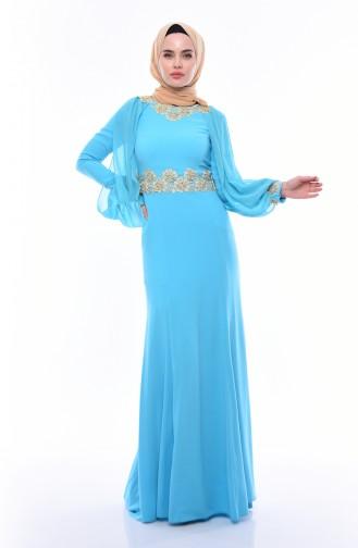 Dantelli Abiye Elbise 4275-01 Turkuaz