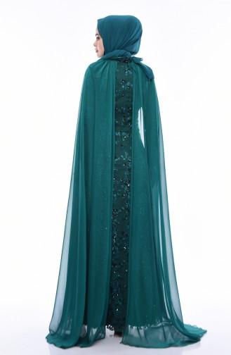 Pelerinli Abiye Elbise 4475-01 Zümrüt Yeşili