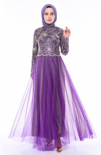 Purple Hijab Evening Dress 4536-01