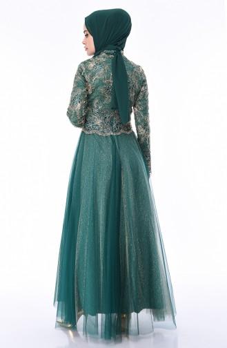 Abendkleid mit Spitze 4536-02 Smaragdgrün 4536-02