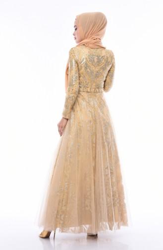 Goldgelb Hijab-Abendkleider 4547-02