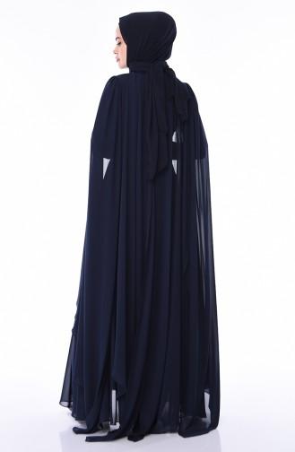 فساتين سهرة بتصميم اسلامي أزرق كحلي 4563-01