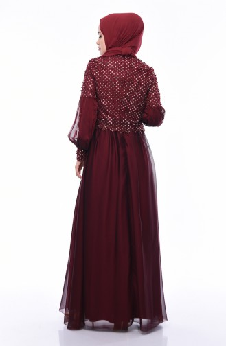 Claret red Islamic Clothing Evening Dress 8959-04