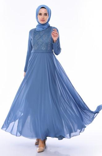 Indigo Islamic Clothing Evening Dress 9346-04