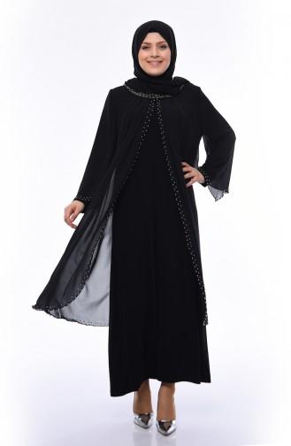 Robe de Soirée Perlées Grande Taille 3142-04 Noir 3142-04