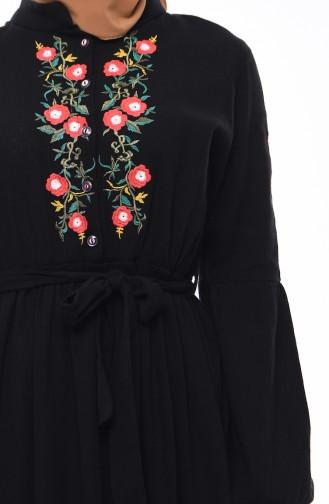 Kolu Lastikli Şile Bezi Elbise 5020-03 Siyah