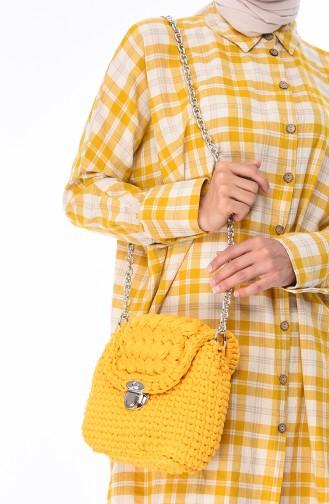 Bayan Penye Örme Omuz Çantası 2048-02 Sarı