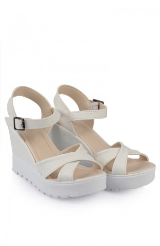 Bayan Topuklu Ayakkabı 98500-0 Beyaz