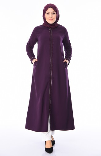 Abaya Brodée Grande Taille 0010-06 Plum 0010-06