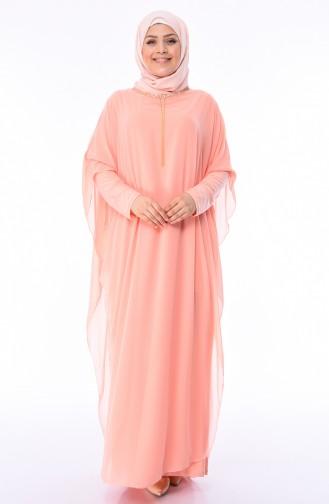 Büyük Beden Kolyeli Şifon Abiye Elbise 4001-02 Somon