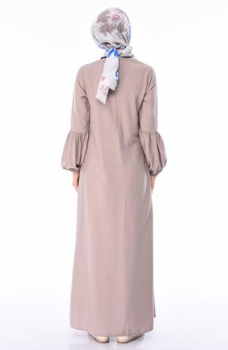 فستان بني مائل للرمادي 1203-10