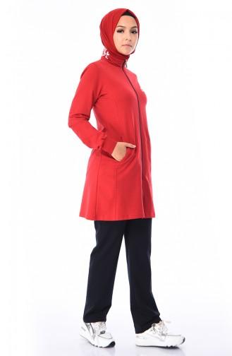Dik Yaka Eşofman Takım 95209-05 Kırmızı Lacivert