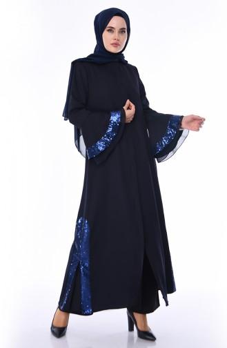 Abaya a Paillettes 0012-02 Bleu Marine 0012-02