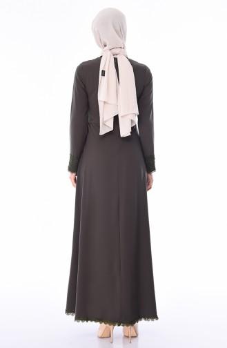 Khaki İslamitische Jurk 5009-03