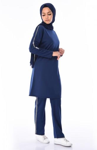 dc50329e20e7b Sefamerve, Sim Şeritli Tunik Pantolon İkili Takım 9051-04 İndigo
