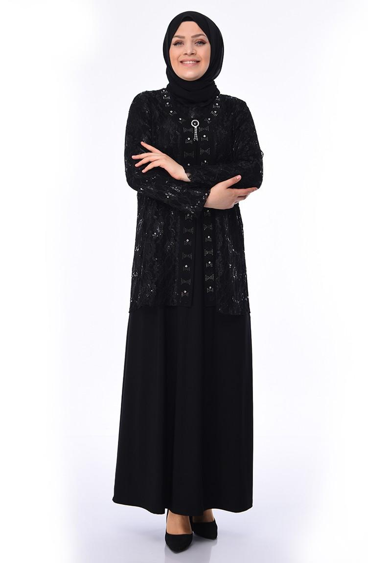 Robe Avec Grande De Taille Soirée Noir 1176 03 Broche xdBroeWC