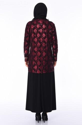 Robe de Soirée avec Broche Grande Taille 1176-06 Noir Plum 1176-06