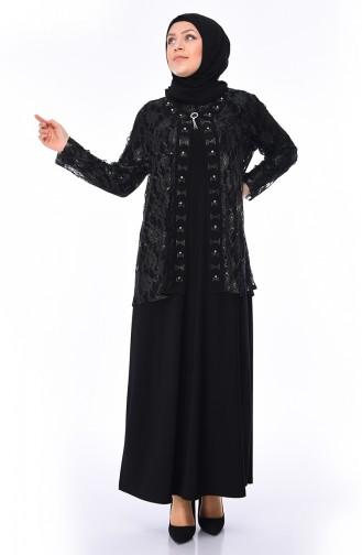 4eb2f20aa5a58 Sefamerve, Büyük Beden Broşlu Abiye Elbise 1176-07 Siyah Zümrüt Yeşili