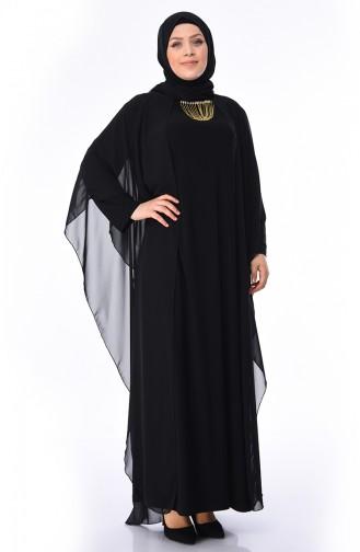 a35178c0901ab Sefamerve, Büyük Beden Kolyeli Abiye Elbise 3002-04 Siyah