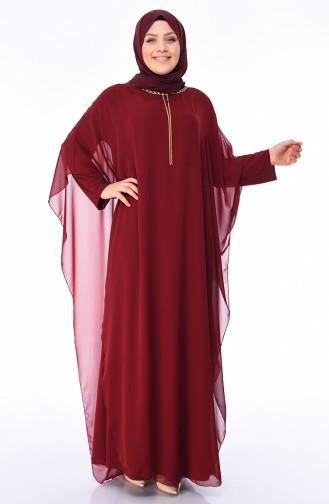 Weinrot Hijab-Abendkleider 4001-04