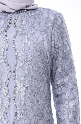 Gray Islamic Clothing Evening Dress 4215-02