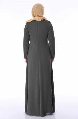 Robe de Soirée a Dentelle Grande Taille 1308-01 Khaki 1308-01