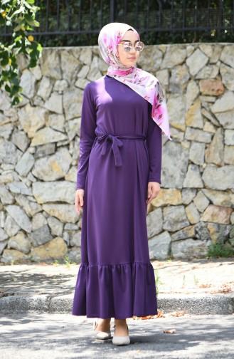 b137563153f7b Sefamerve, Büzgülü Kuşaklı Elbise 2242-02 Mor