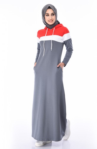 163e1df9df6e9 Sefamerve, Kapüşonlu Spor Elbise 7011-04 Füme Kırmızı