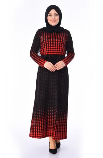 f139f0b660683 Sefamerve, Puantiyeli Kuşaklı Elbise 5845-03 Siyah Kırmızı