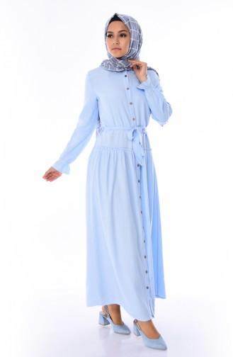 Geknöpftes Kleid mit Band 1954-06 Babyblau 1954-06