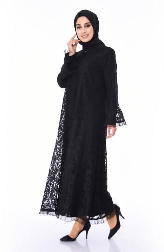 Büyük Beden Dantrel Kaplamalı Ferace 0348-01 Siyah