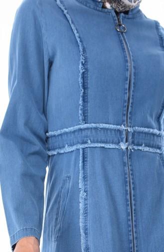 Saçaklı Tensel Kot Ferace 0352-01 Kot Mavi