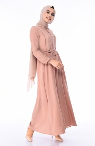 Dunkel-Beige Hijap Kleider 1193-08