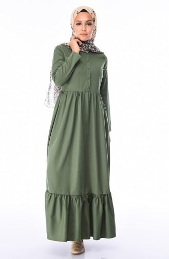 Büzgülü Elbise 9098-05 Yeşil