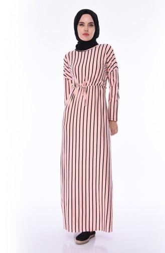 Çizgili Yazlık Elbise 1091-02 Pudra