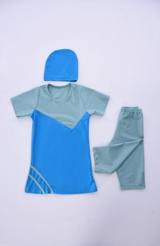 Maillot de Bain Hijab Bleu 0112-07