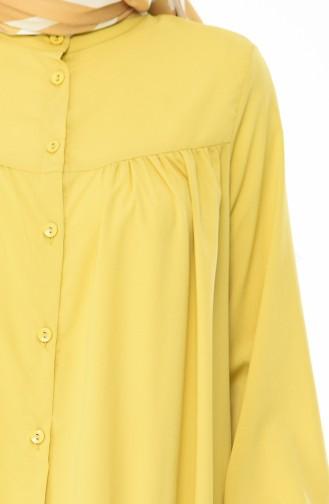 Düğmeli Uzun Tunik 1442-02 Fıstık Yeşili