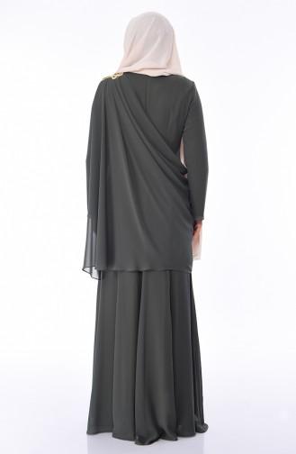 Robe de Soirée Perlées Grande Taille 1132-03 Khaki 1132-03