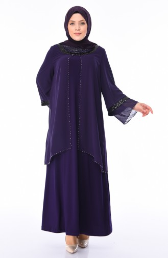 Purple Islamic Clothing Evening Dress 3145-01